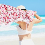 floral coverup/white swimsuit