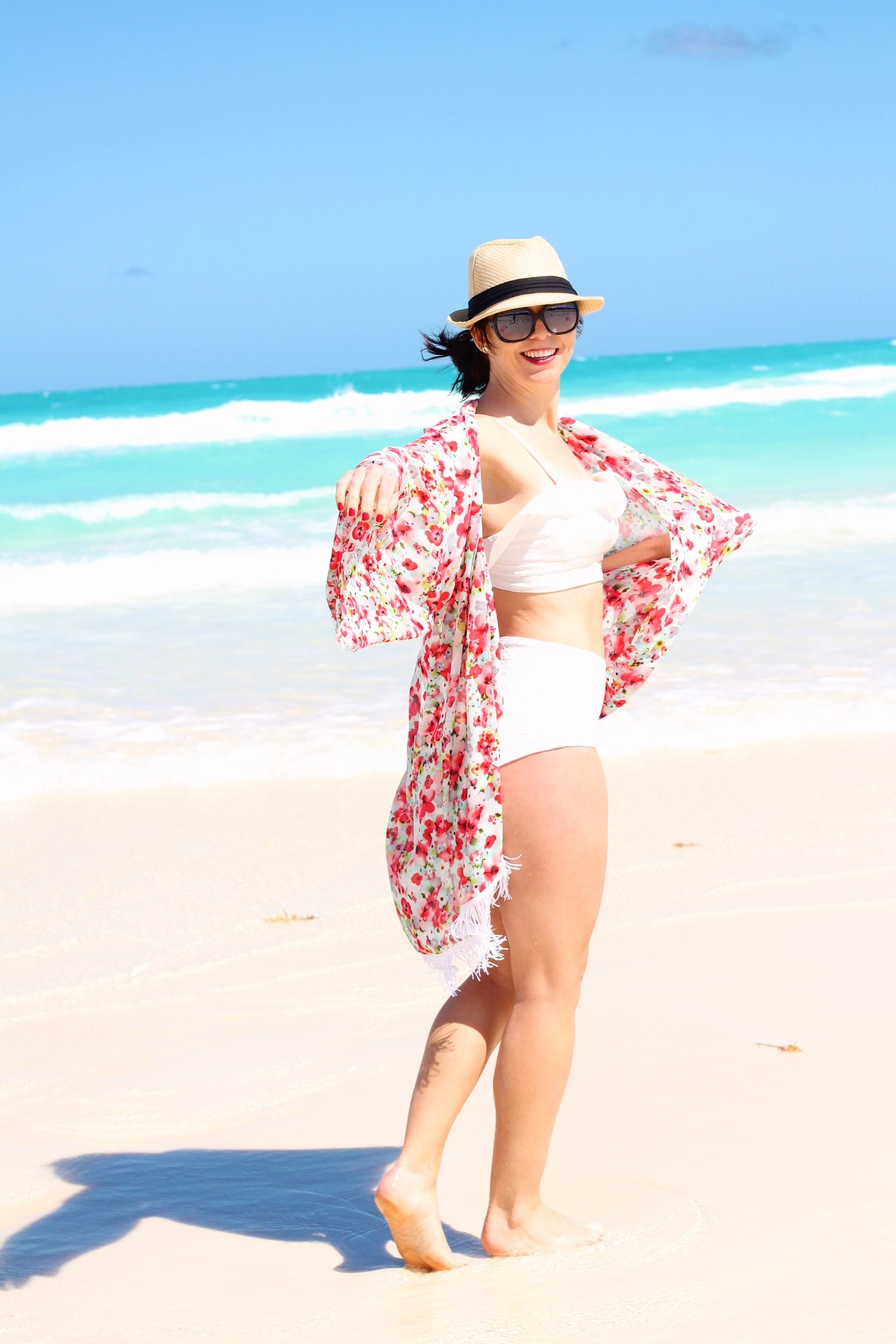 floral coverup/white bathing suit