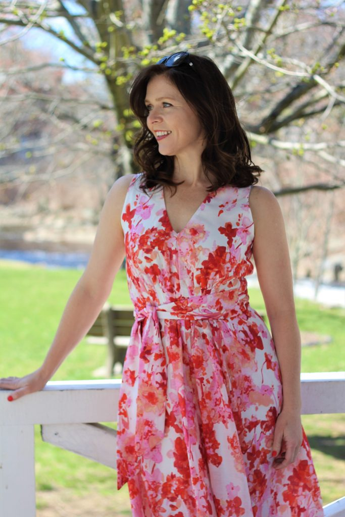 floral silk cotton dress