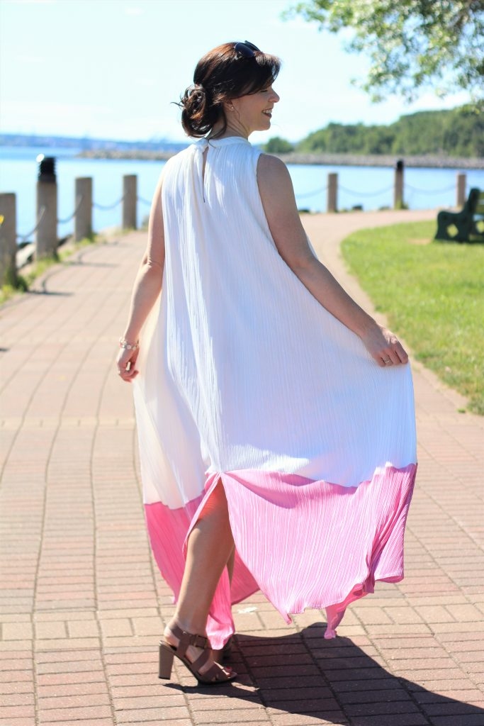 pink and white pleated dress