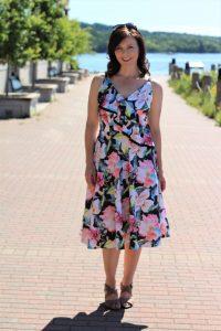 floral black trimmed dress