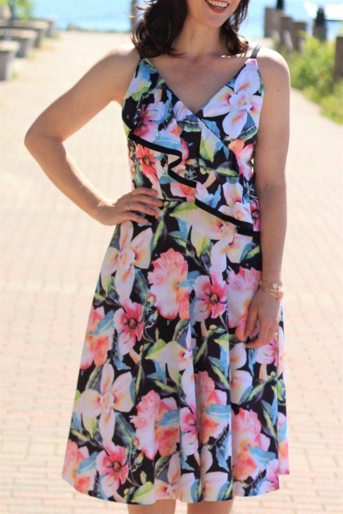 floral black trimmed dress