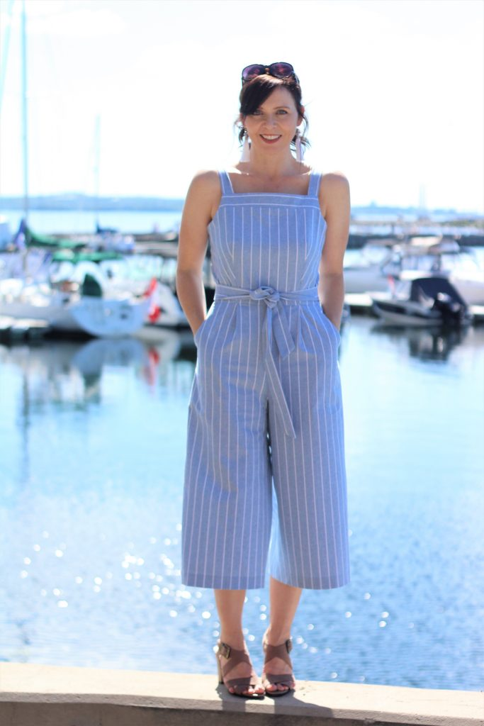 blue striped jumpsuit